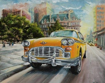 Giclee print of painting New York print art canvas print Yellow wall decor Fathers day gift Vintage car print Impressionist print Manhattan