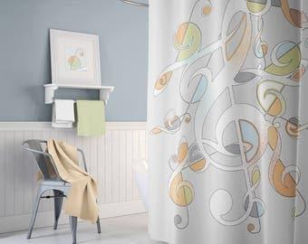 Musician Gift Unique Shower Bathroom Decor Gray Shower Curtain Music Decor  Bathroom Accessories Home Decor Extra