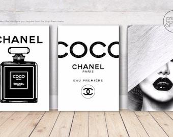 COCO CHANEL LIPS Perfume Bottles black & White - 3 x Wall Art Print Poster Canvas