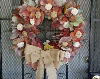 Handmade Fall Autum Leaf Wreath Decor