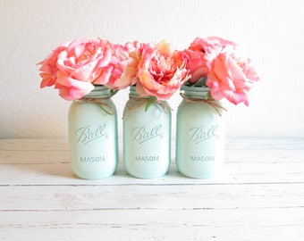 Mint Green Mason Jars - Mint Centerpiece - Mason Jar Decor - Painted Mason Jars - Mint Green Wedding Decor - Mint Flower Vases