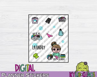 Laundry Digital Planner Stickers for GoodNotes Planners