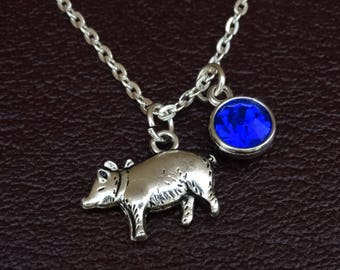 Pig necklace pendant pig personalized pet pig jewelry farm pig necklace pig charm pig pendant pig jewelry pig lover pig mozeypictures Gallery