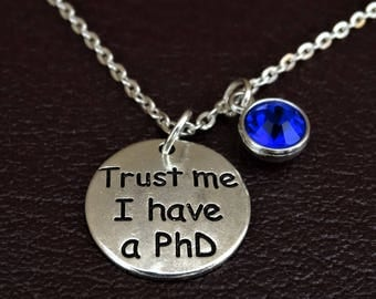PhD Necklace, PhD Charm, PhD Pendant, PhD Jewelry, PhD Gift, PhD Graduation, PhD Student, PhD Student Gift, PhD Gifts, Doctor of Philosophy