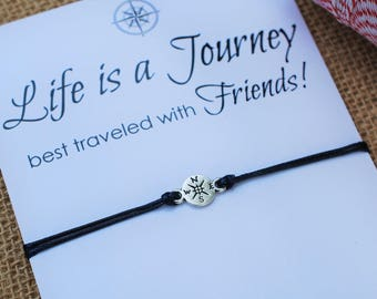 Wanderlust Friendship Bracelet Compass Bracelet BFF Gift Best Friend Bracelet Life is a Journey Bracelet Wishing Bracelet Travel Bracelet