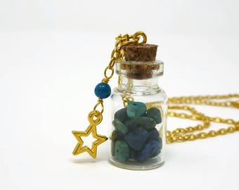 Gemstone Bottle Necklace - Genuine Chrysocolla Necklace - Chakra Gemstone Bottle Necklace - Peace Healing Necklace - Bottle Necklace - Gift