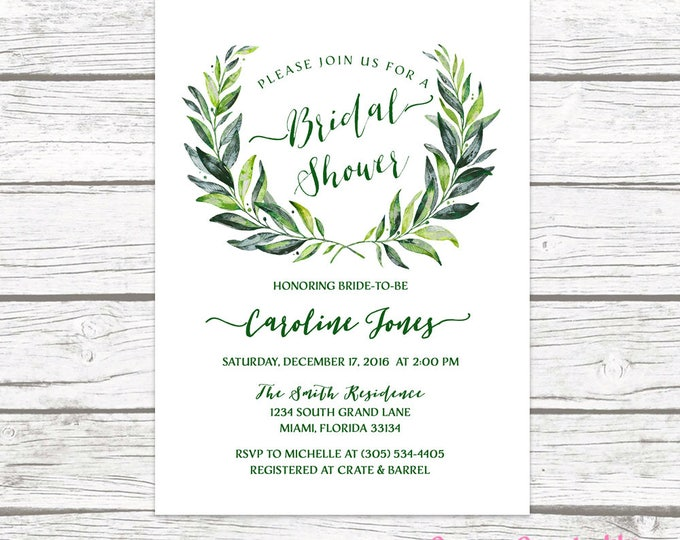 Green Bridal Shower Invitation, Leaf Bridal Shower Invitation, Laurel Bridal Shower Invite, Greenery Invitation, Wreath Bridal Shower Invite
