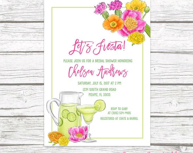 Fiesta Bridal Shower Invitation, Margarita Bridal Shower Invitation, Margaritas Bridal Shower, Let's Fiesta, Tropical Bridal Shower Invite