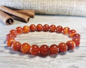 Carnelian Bracelet, Gemstone Bracelet, Healing Gemstone, Beaded Bracelet, Dark Red Bracelet, Red Beads Bracelet, Red Bracelet, Orange
