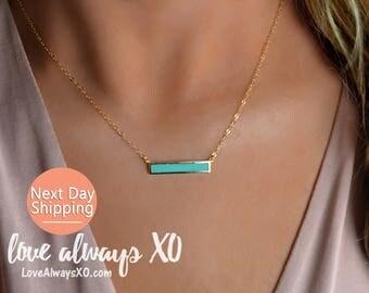 Turquoise Necklace, Turquoise Bar Necklace, Turquoise Gold Necklace, Turquoise jewelry, bar necklace, delicate necklace, turquoise LA116