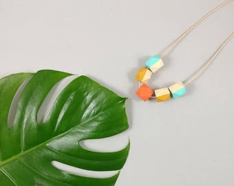 Tropical Necklace - Mustard, Coral, Mint | Statement Necklace | Gift for her | Geometric Jewellery | Tropical | Geometric necklace | Geo