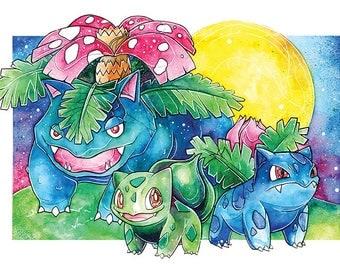 A3 Pokemon Print ~ Bulbasaur Family