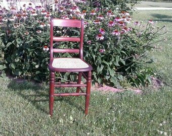 antique tall chair caned seat from the 1800's