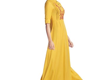 Indian Pakistan Bollywood Designer Kurti Designer Women Ethnic Yellow Colored Modal & Crepe Georgette kurti Top Tunic Kurta women kurti top