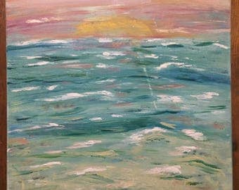 Ocean Sunset Acrylic Painting 1