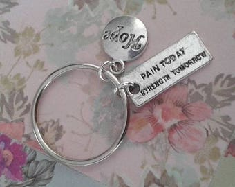 pain today strength tomorrow hope keyring awareness keychain bag charm inspirational quote