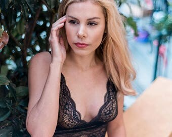 ISLA Crop - lingerie, lace lingerie, bralette, sexy lingerie, sheer lingerie, plus size lingerie, crop top, black lingerie, black lace, sexy