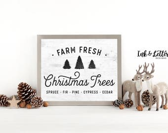 Farm Fresh Christmas Trees Sign - Christmas Art Print - Christmas Wall Art - Rustic Christmas Decor - Instant Download - 8x10