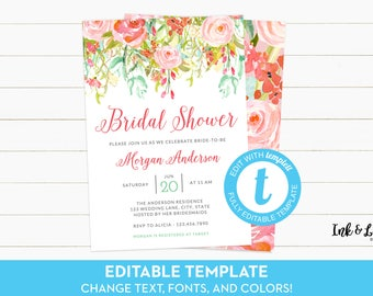 Bridal Shower Invitation Template - Templett Bridal Shower - Digital Invitation - Rose Bridal Shower Invitation - Watercolor Bridal Shower