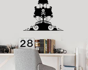 Pirate Ship Vinyl Wall Decal Wave Kids Room Creative Decor Art Stickers Mural (#2645di)