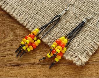 Boho tassel earrings Beaded earrings tassel African earrings Ethnic earrings Gipsy earrings Rattle earrings with knots Gift for girl (0133)