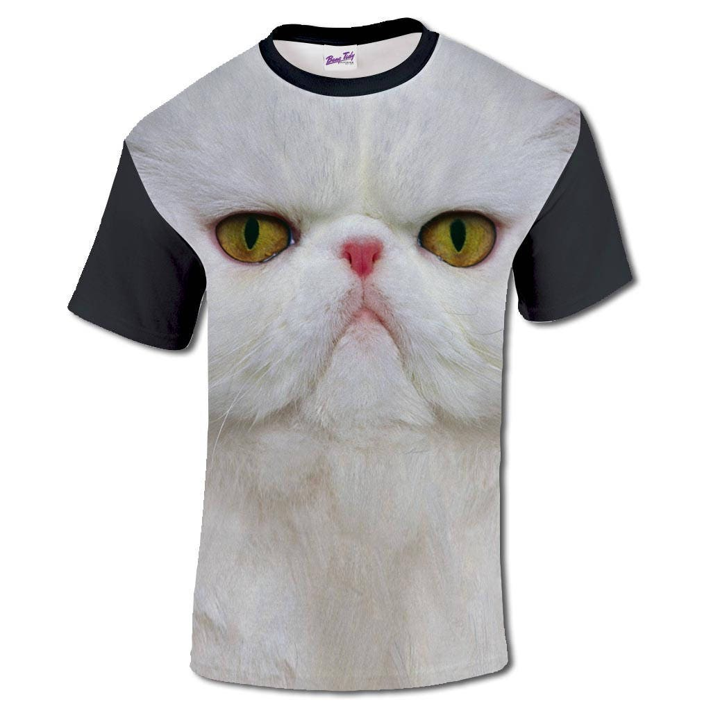 3D Print T Shirt With Persian Cat Face Sublimation Mens
