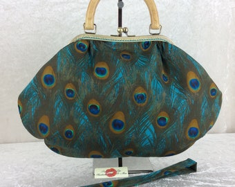 Peacock Feathers Betty frame hand bag fabric shoulder bag  purse handmade in England