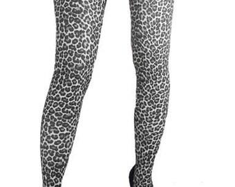 Spandex stockings Leopard Print black white