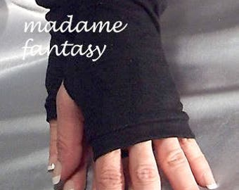 Black Cotton fingerless gloves Arm Warmers