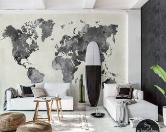 World map wall mural etsy vintage world map removable wallpaper pale wall mural peel and stick wallmural old gumiabroncs Choice Image