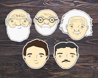 Scientist Sticker - Darwin/Einstein/Tesla/Curie/Freud Art - Cute Science Stickers - Psychology Gift/Biology Vinyl/Physics Decal/Science Kids