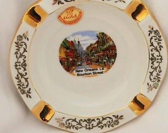 Vintage New Orleans Bourbon Street Ashtray Echt Gold West Germany Vintage Porcelain Ashtray Vintage Tobacciana