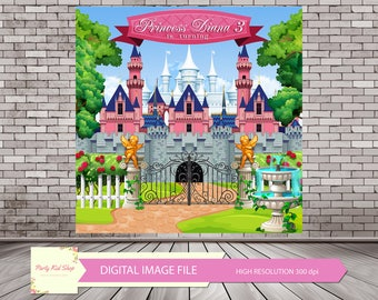 Princess Backdrop, Castle Backdrop, Castle, Princess Party, Princess Birthday, Princess Castle, Castle Background *DIGITAL IMAGE FILE*