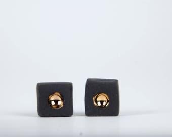 mens earrings, earrings for men, porcelain jewelry, ceramic jewelry, ceramic earrings, black earrings, earrings men,