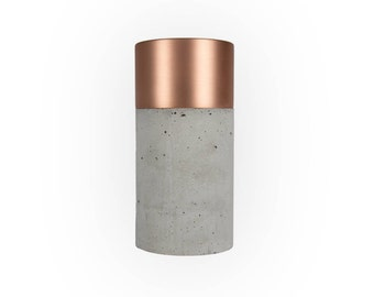 Light Concrete Vase with Brushed Copper and Removable Glas