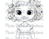SMILING GIRL- digitalstamp for scrapbooking, cardmaking, crafts