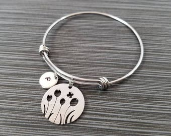 Floral Bracelet - Flower Charm Bracelet - Expandable Charm Bracelet - Custom Initial Bracelet - Flower Bangle Bracelet - Best Friend Gift