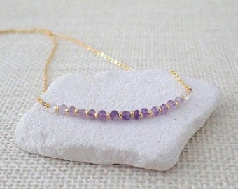 Amethyst Necklace, Ombre Necklace, Bar Necklace, Gemstone Necklace, Layering Necklace, February Birth Stone, Delicate Minimalist Necklace
