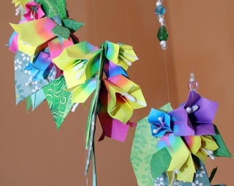 Origami Large Multicolor Bellflowers With Leaves Beads Spiral Mobile
