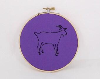 Purple Goat Embroidered Hoop Art