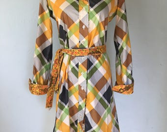 Vintage Geoffrey Beene Plaid Shirt Dress + Matching Belt - Size Small