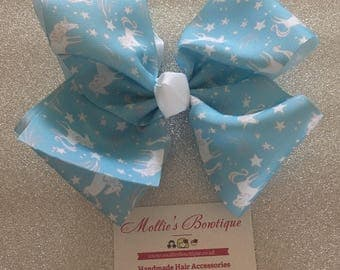 6.5-7'' BIG 'JoJo' inspired Bow - Blue Unicorns