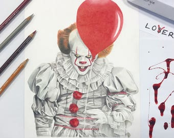 IT Pennywise The Clown (Bill Skarsgard) A4 Print
