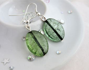 Green Crackled Quartz Oval Earring on Silver Plated Earwires, Hooks, Gemstone,