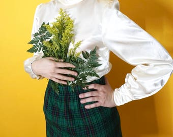 Vintage Plaid Green Skirt