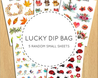 Lucky Dip Bags | Planner Stickers | Random Assortment of Stickers | 5 Small Sheets Per Bag | Fantastic Value!