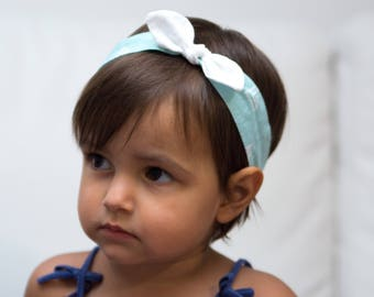 Hair band for girl or Mama Mint with white triangles