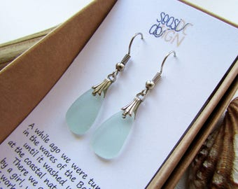 Turquoise Sea Glass Earrings in a Gift Box (slightly shorter than chin-length), hypoallergenic, nickel free, made of natural sea glass