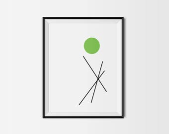 DIGITAL DOWNLOAD : Modern Minimalist Art PRINT / Circles & Lines / Green / Black / White / Printable File / Diy