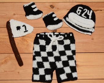 Motocross - Crocheted Newborn Photo Set - Crocheted Baby Photo Outfit - Crocheted Racing Set - Motocross Baby Outfit - Racing Shorts and Hat